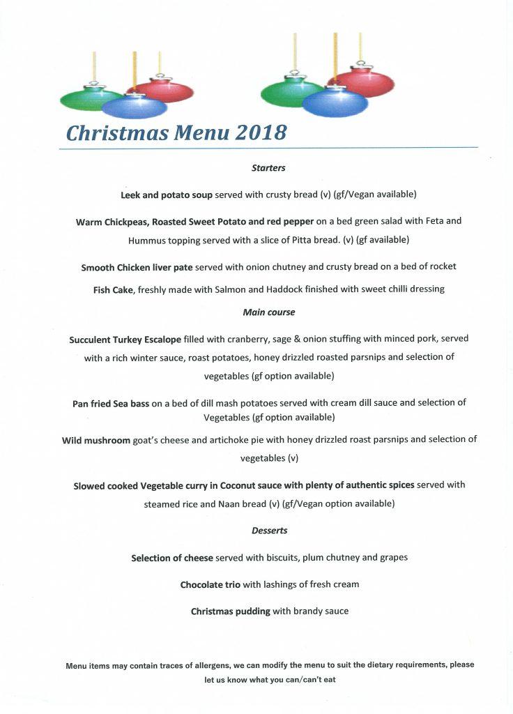 Xmas Dinner menu 2018